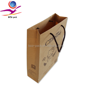 Logo printed brown craft gift shopping paper bag Wholesale