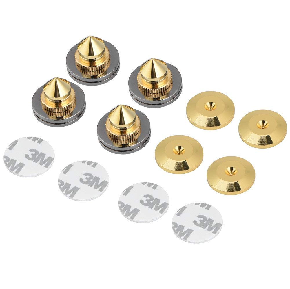 fosa 4 Pcs 28x25mm gold-plated copper Speaker Isolation Spikes Stand Feet Replacement HiFi Speaker AMP CD Cone Base Pads