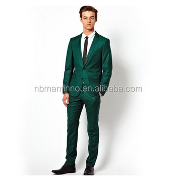 Green Color Slim Fit Men Suit - Buy Coat Pant Men Suit,Suit For ...