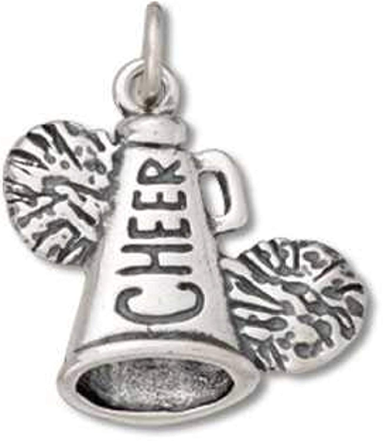 Sterling Silver Charm Bracelet Attached 2D Football Cheerleaders Megaphone And Pom Poms Charm