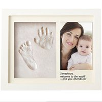 My First Year Baby Hand and Footprint Photo in Frame Wooden Baby One Year Photo Frame