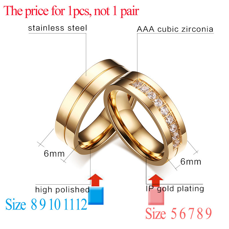 628694f4d8 cz wedding ring Meaeguet Gold-Color CZ Wedding Rings Lover's Cubic Zirconia  Stainless Steel Romantic Ring Jewelry USA Size