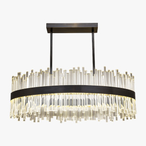 Oval black nickel chandelier with CE certificated parts for dining hall