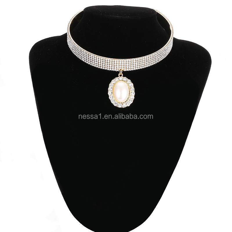Fashion crystal jewelry pearl pendant neckalce wholesale XS-002