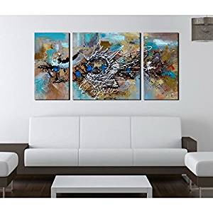 Buy Hand Painted Abstract 491 3 Piece Gallery Wrapped Canvas