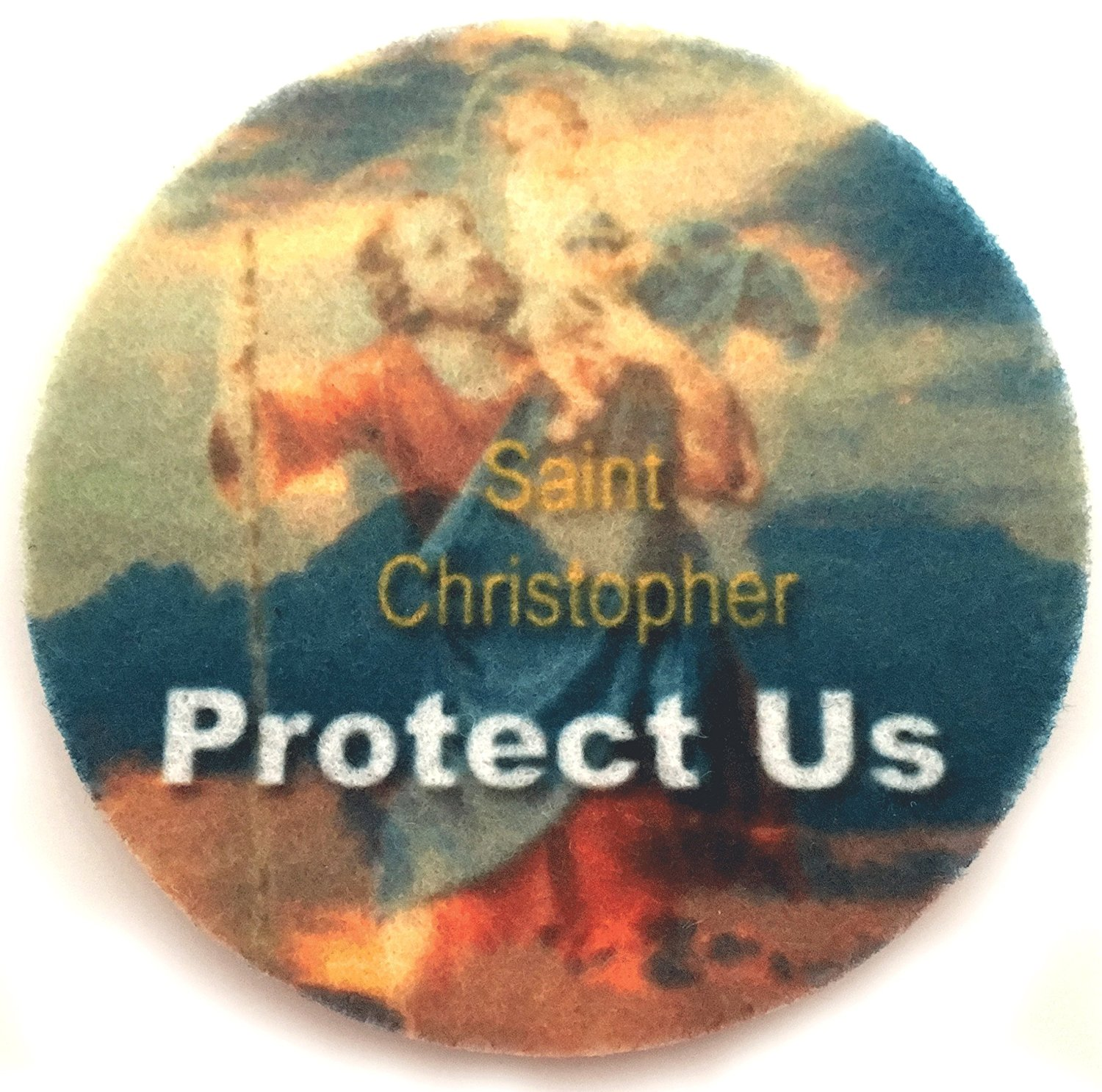 Saint Christopher Protect Us Car Coasters - Set of two super absorbent car coasters for your cars cup holder - Car Cup Holder Coasters