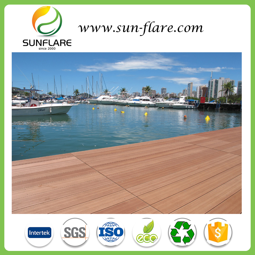 Co-extrusion WPC decking with narrow brushing and Wood grain anti-slip waterproof composite decking floor