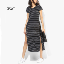 ladies stripes high split 2017 blank longline sexy t shirt woman clothes
