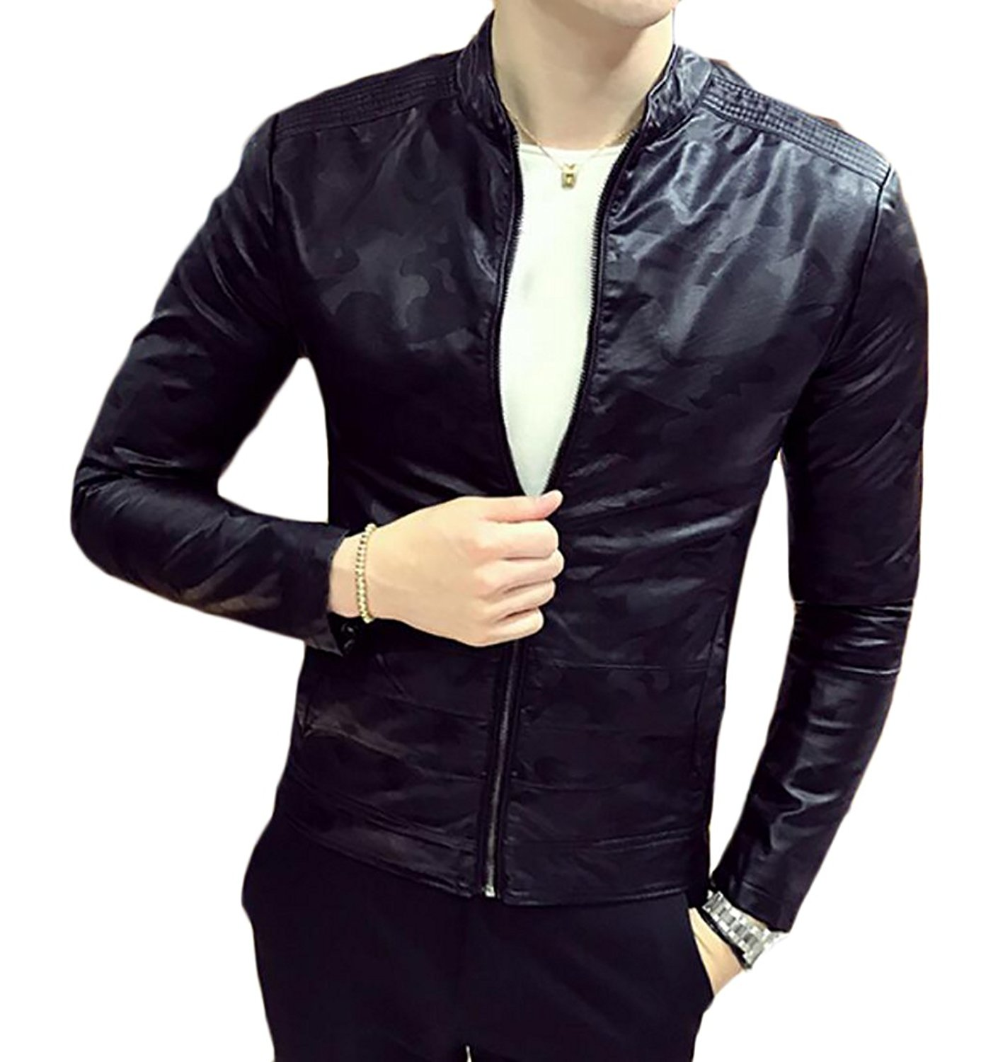 XQS Mens Pu Leather Stand Collar Slim Fit Solid Color Front-Zip Jackets