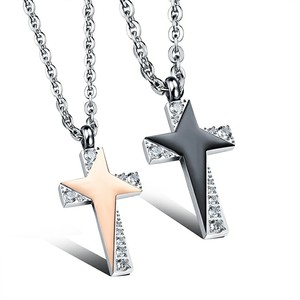 Marlary Fashionable New Design Spanish Prayer Cross CZ Inlay Gold Plated Steel Couple Pendant Necklace