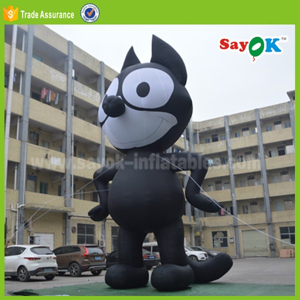 large inflatable air cat puppet cartoon characters for attraction