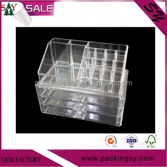 Supply clear acrylic makeup organizer 16 Grids cosmetic organizer make up drawers jewelry display box acrylic case