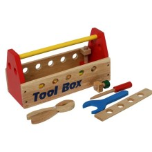 Kids Wooden Play Toy Mechanic Tool Box Set