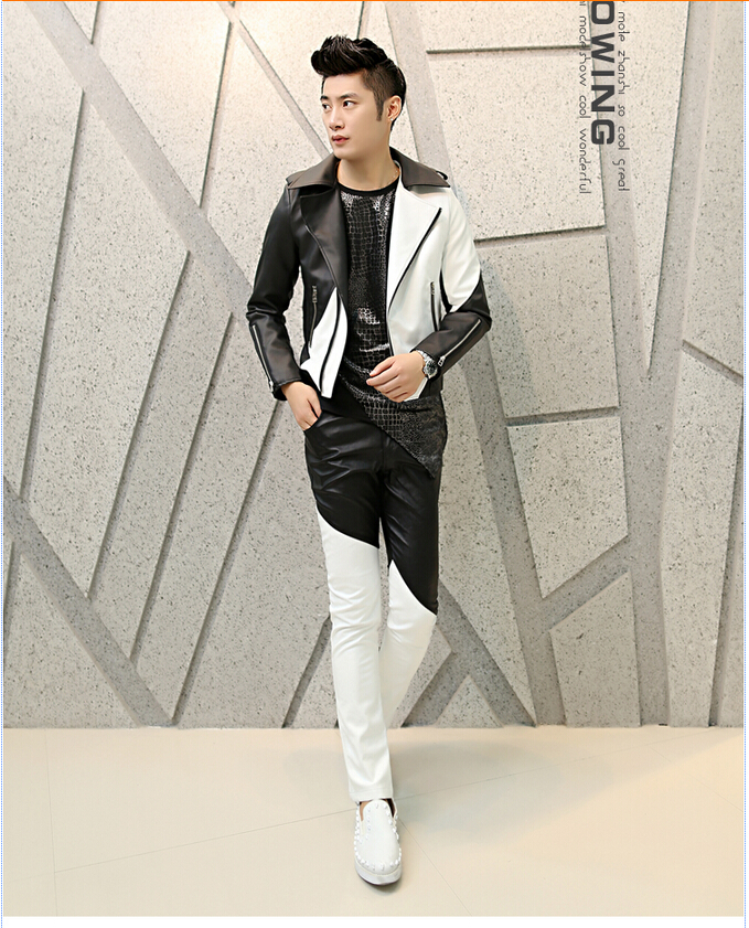 2019 Wholesale Fashion 2015 Punk Black White Patchwork Boys Faux