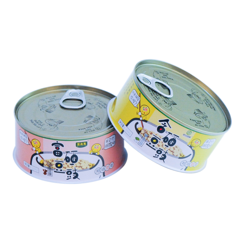 3 piece printed round metal tin can for caviar/food canning fish