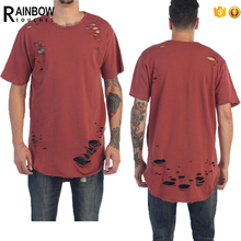 High quality 2017 new arrival mens blank distressed t shirts cotton