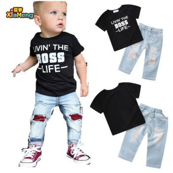 1b8e32f1b66e0 Cool Toddler Boy s Clothes Set With Boss T And Ripped Jeans - Buy ...