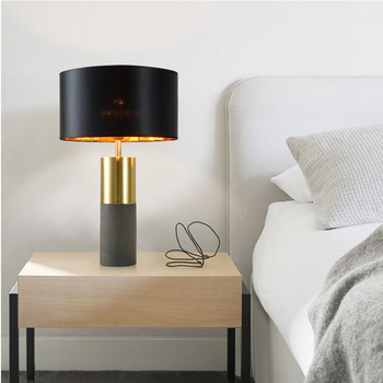 Black Gold Fabric Cement Modern Bedside Hotel Luxury Table Lamp Light