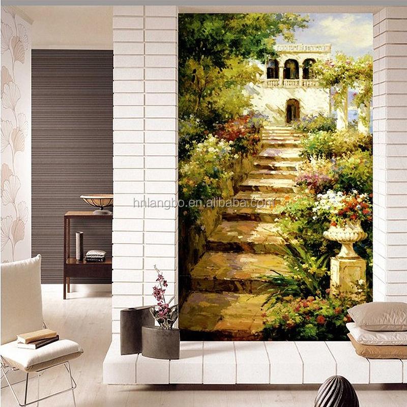 la decoracin del hogar paisaje idlico jardn escaleras de entrada de papel tapiz
