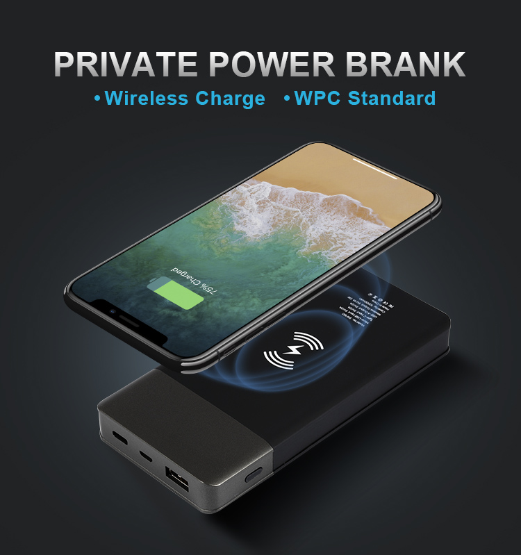 Shenzhen Fantasy 10000mAh Custom OEM Universal Qi Wireless Portable Power Bank Mobile Phone Qi Wireless Charger