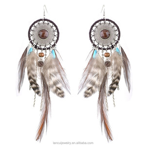 boho Statement Earring Feather Long Metal Tassel Handmade Resin Beaded Pendant Drop Earrings for woman