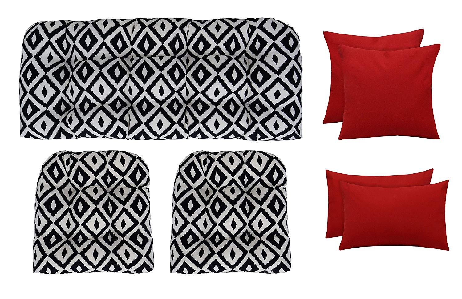 "RSH Décor Indoor Outdoor Wicker Tufted 7 Piece Set - Loveseat Settee, Chair Cushions, Square & Lumbar Pillows - Made of Aztec & Solid Red Fabrics (41""W x 19""D & 19""W x 19""D + 20""W x 12""H & 17""Sq)"