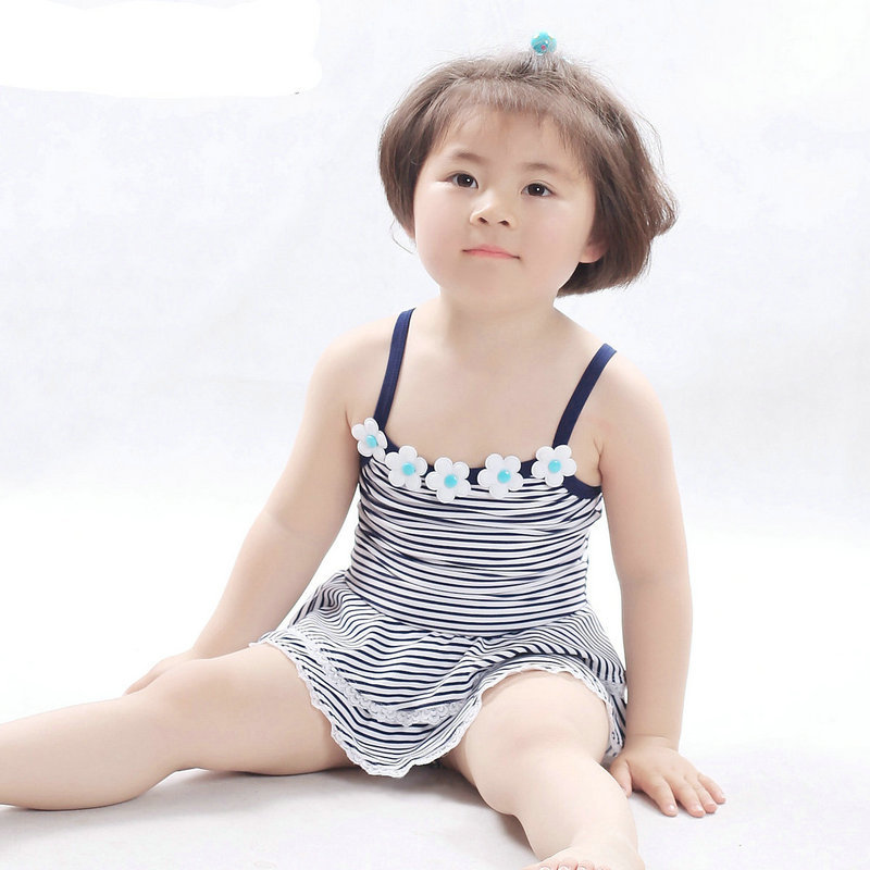 cac1e4075e7 Get Quotations · New Arrival 2015 Girls Swimwear Cute Summer Style Fashion  Navy Blue Striped Design One Piece Swimsuit