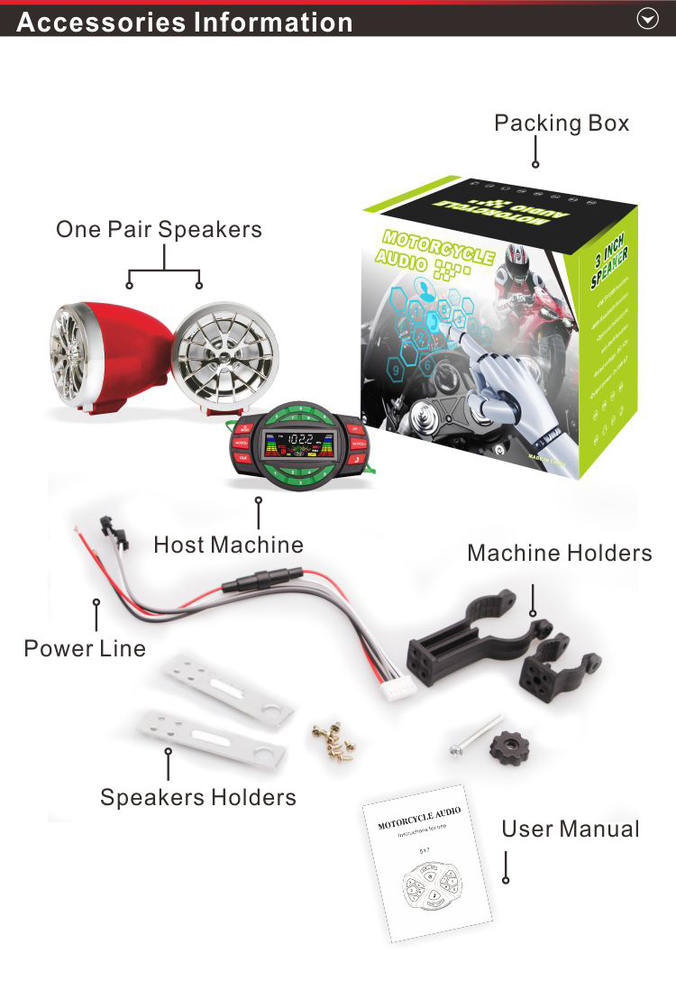 Motorcycle moto DIGITAL MP3 player Stereo and Alarm Security - 2 speakers 20W