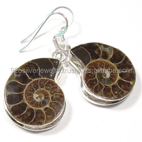 Ammonite Fossil jewelry wholesale Value 925 silver earrings