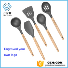 2017 new products kitchen utensils store set of 10 pcs/silicone household utensils with beech holder