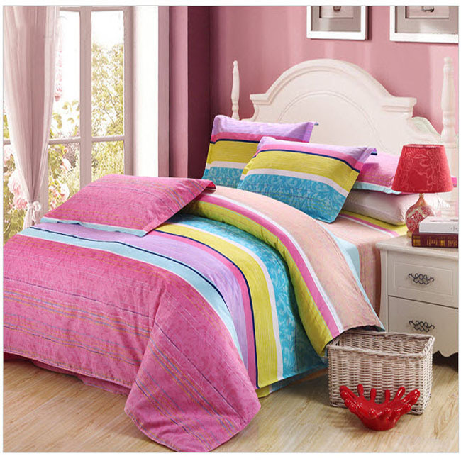 striped bright turquoise pink purple yellow warm colors patchwork duvet cover 4 pcs super king. Black Bedroom Furniture Sets. Home Design Ideas
