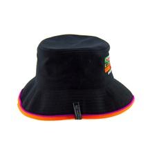 ff5280f2dc35d6 custom logo unisex quality polyester two-tone locked wide brim mens sun  bucket hat black