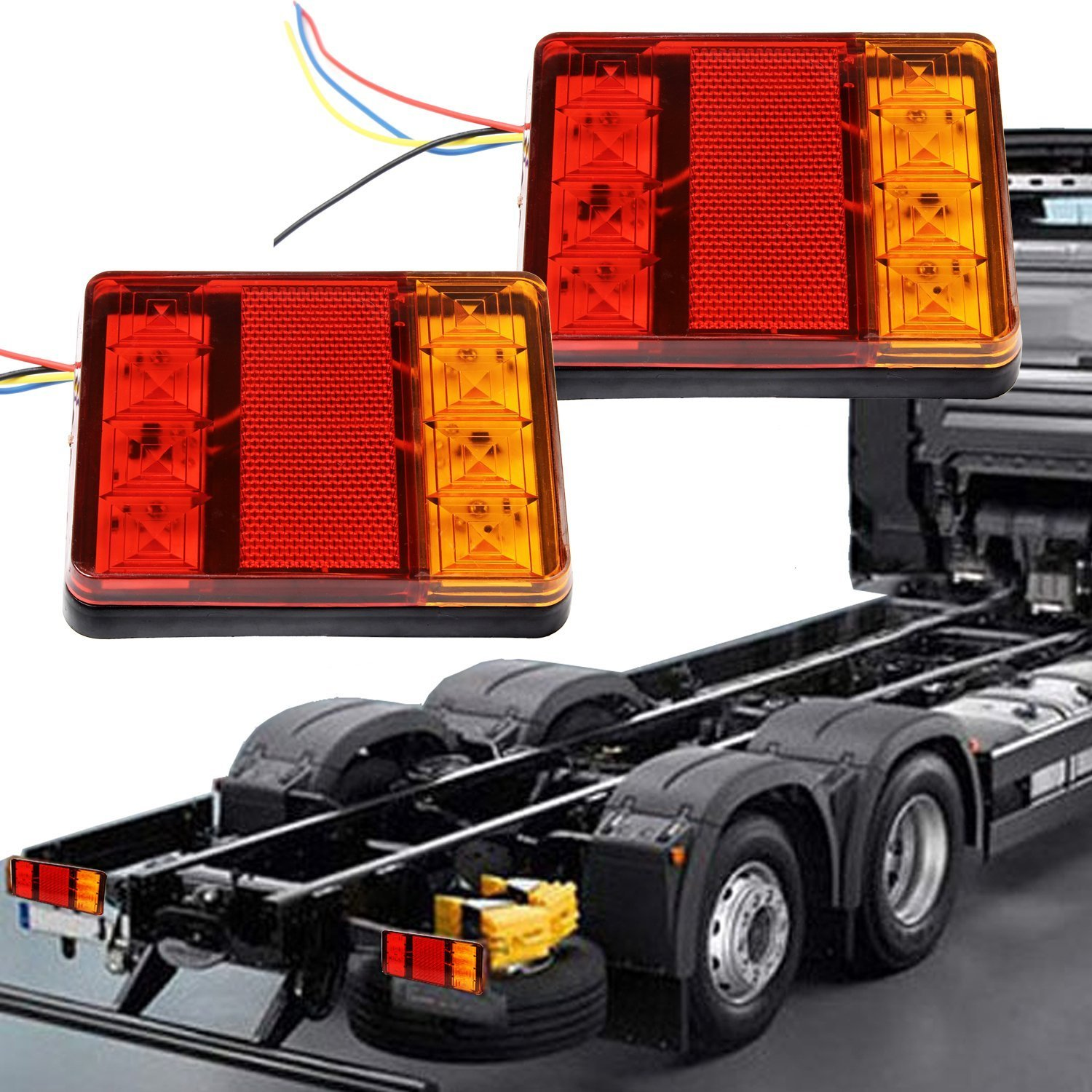 Cheap led tail lights trailer find led tail lights trailer deals on get quotations trailer truck tail lights discoball 2pc square led trailer light kit rear led brake aloadofball Image collections