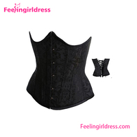 Free shipping Women Black Brocade Curved Top Sexy Mature Corset