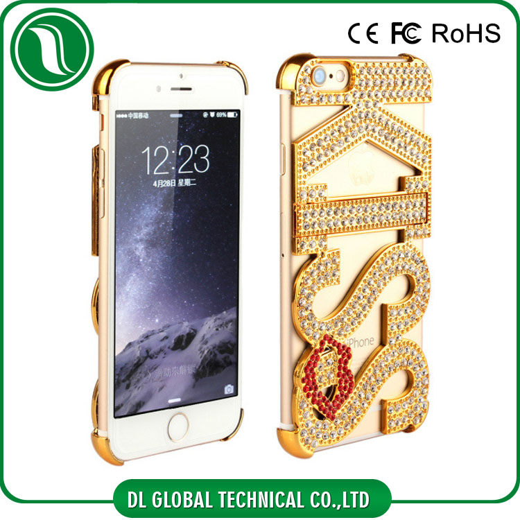 idea product 2015 mobile phone case for couples Kickstand Rhinestone KISS phone covers for iphone 6 case