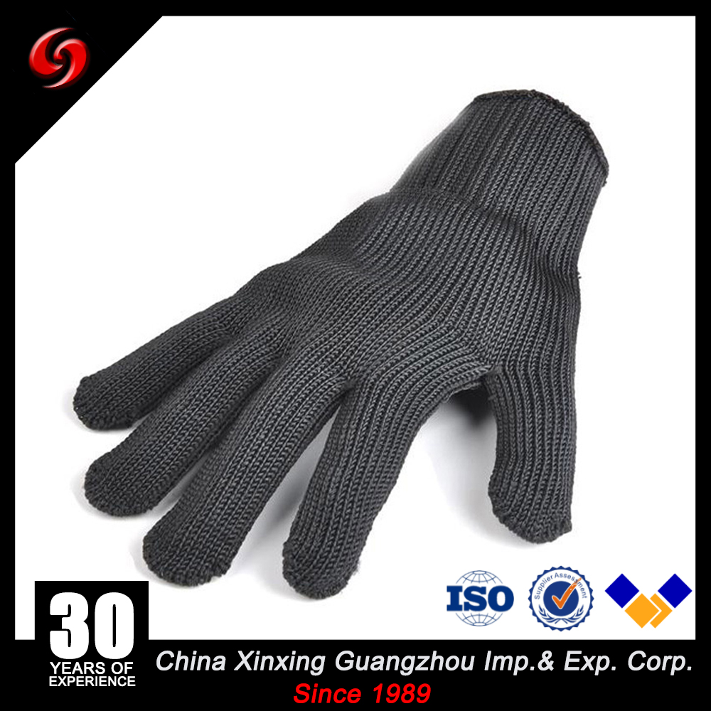 UHMWPE PE anti stab gloves for police field glass maker black color steel with pe fiber