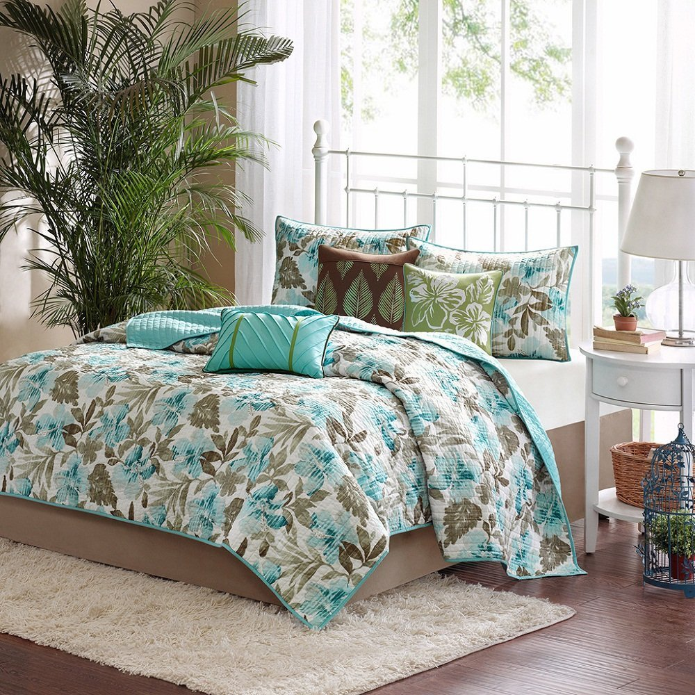 D&H 6 Piece Blue Green Tropical Flower Theme Coverlet Full Queen Set, Beautiful All Over Hawiian Floral Bedding, Chic Multi Vacation Ocean Beach Summer Leaf Themed Pattern, Teal Turquoise Light Brown