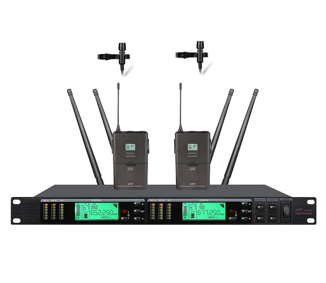 Poly audio Wireless Microphones Long-Range True Diversity UHF Professional Wireless Microphone System Wireless Mics Stage Performance for Church,Home Karaoke, Business Meetings