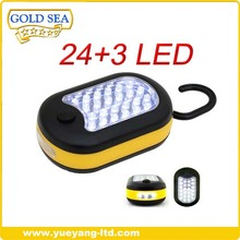 wholesale nice workmanship with rubber oil surface and hook 24+3 led work light with magnet
