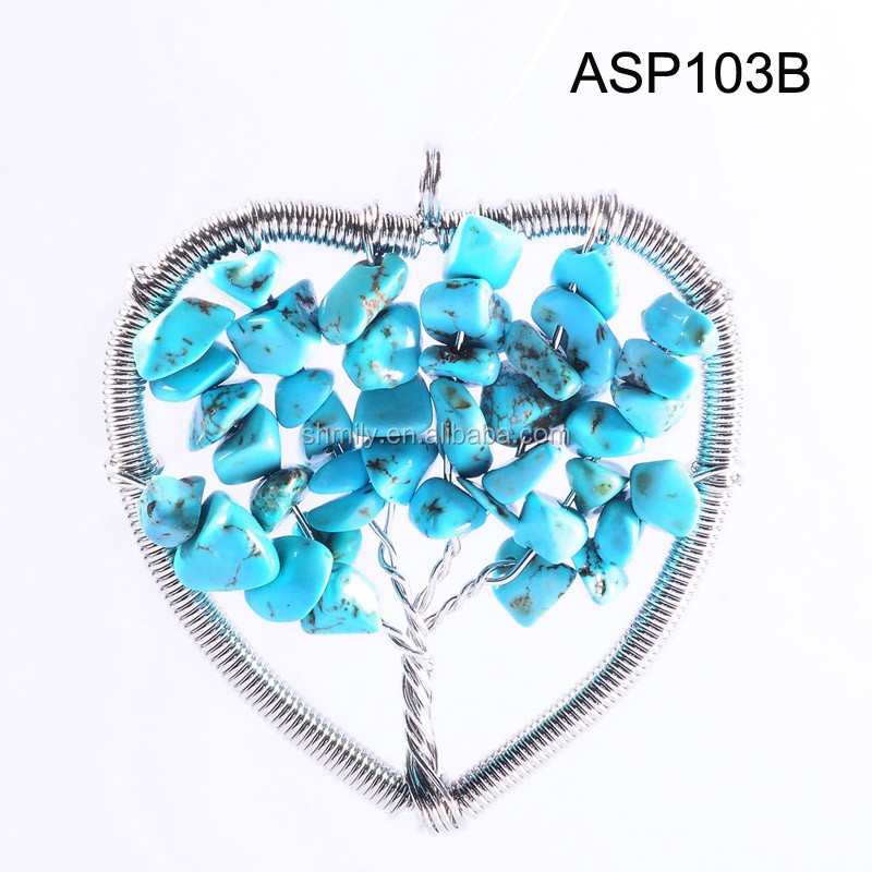 13 Colors 48*51mm Tree Of Life Wire Wrapped Natural Semi-precious ...