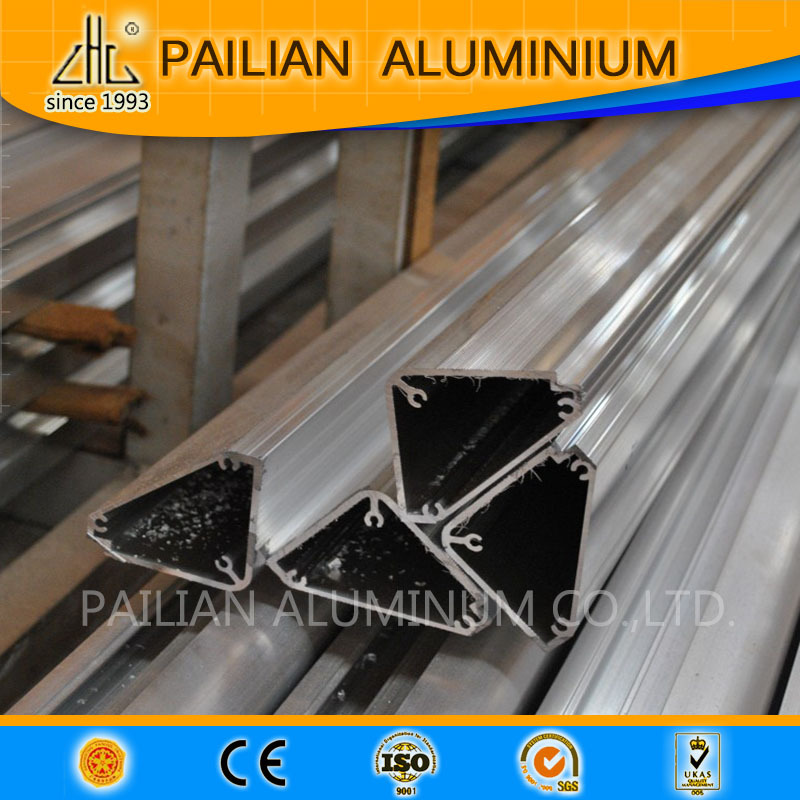 Extruded aluminium profile zhonglian supplying aluminium triangle tube , octagon tube for pergola roof