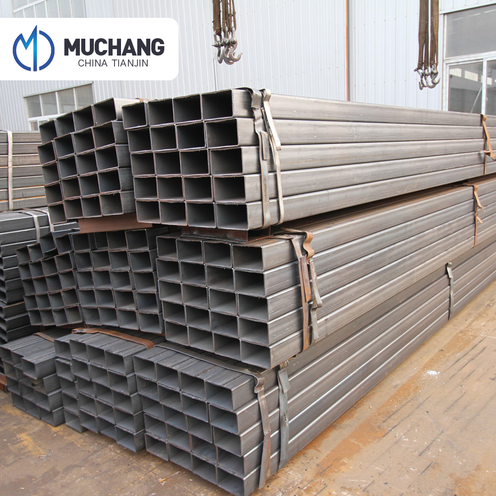 Black steel packing square tube erw steel square tubing standard sizes hollow rectangular pipe