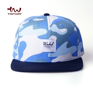 Custom Logo OEM ODM Hats Allover Print Blue Camo Snapback Cap With 6 Panel Flat Bill Hat
