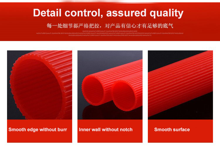 Factory custom size outlet red striped rounded plastic pipe PP tube