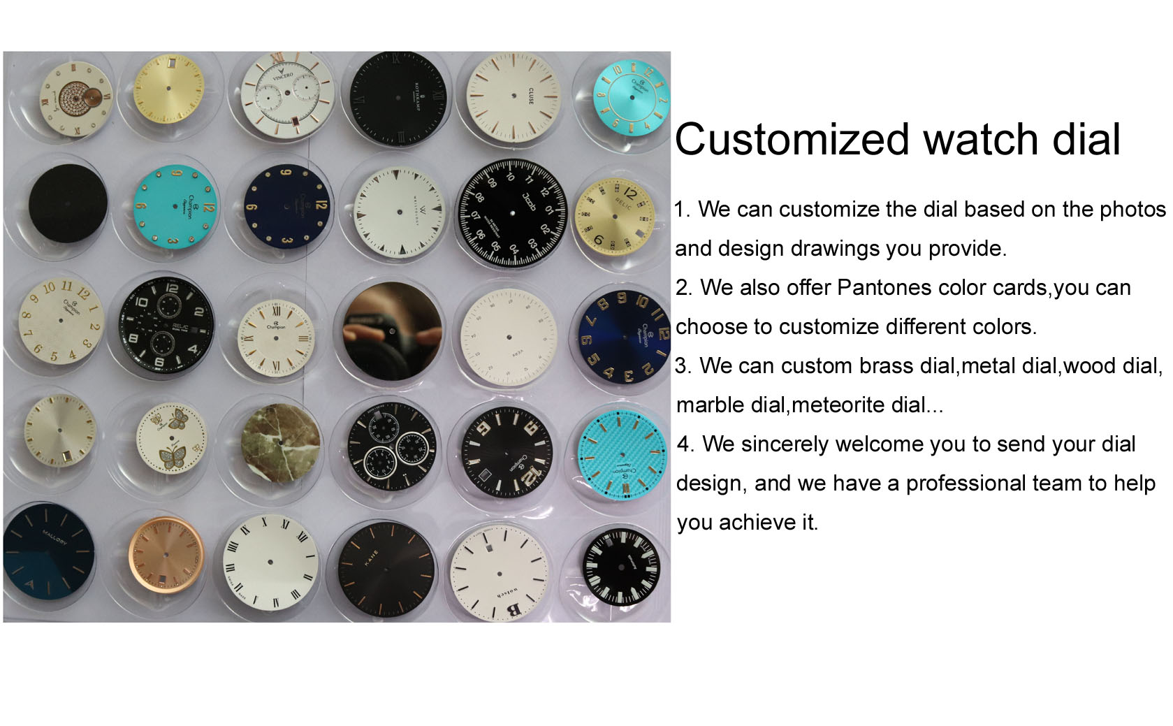 Custom Your Logo Enamel Marble dial Watch Accessories Watch Dial parts Blank Mirror Dial