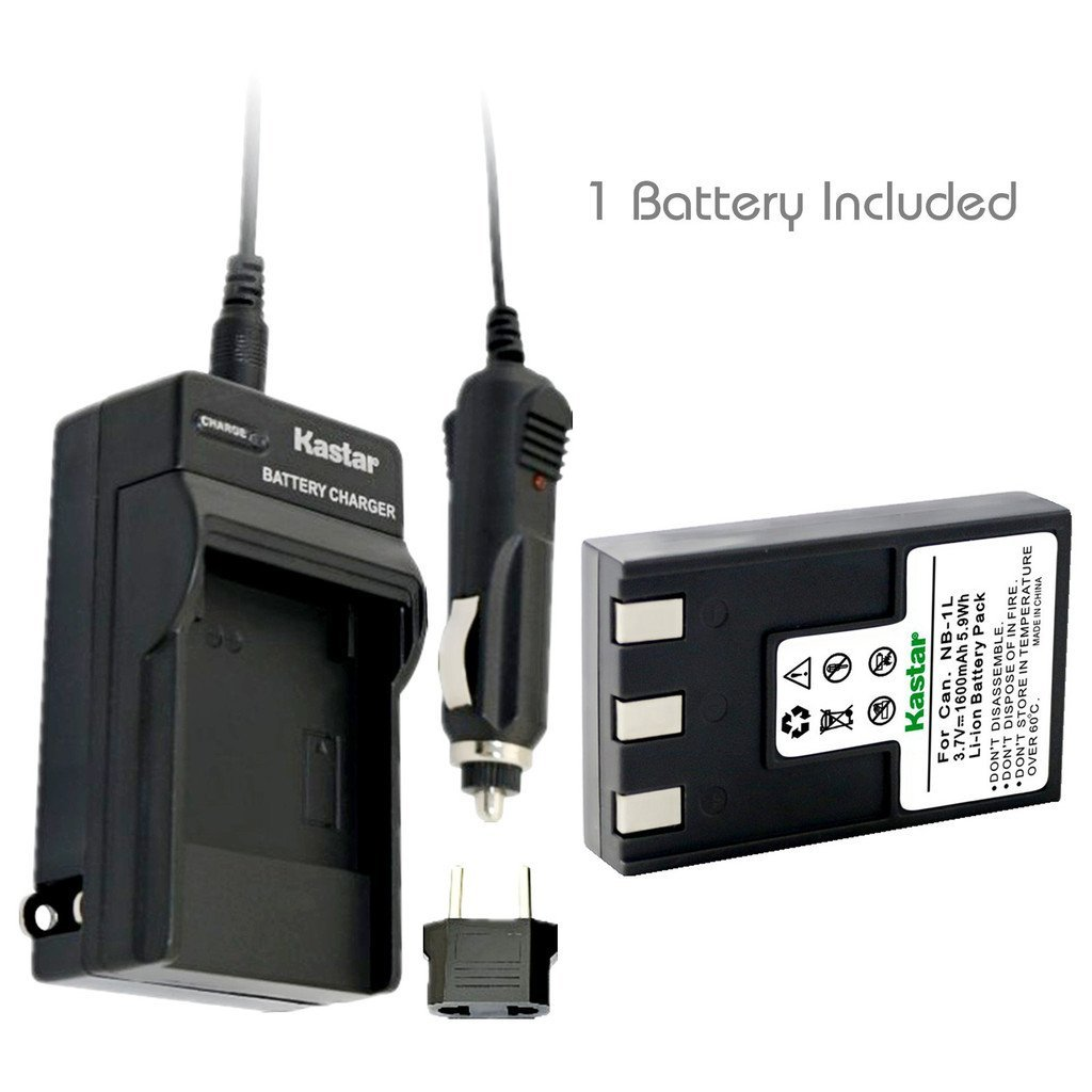 Kastar NB 1L Battery (1 Pack) and Charger Kit for Canon NB 1L NB 1LH CB 2LSE work with Canon IXY Digital 200 200a 300 300a 320 400 430 450 500 S200