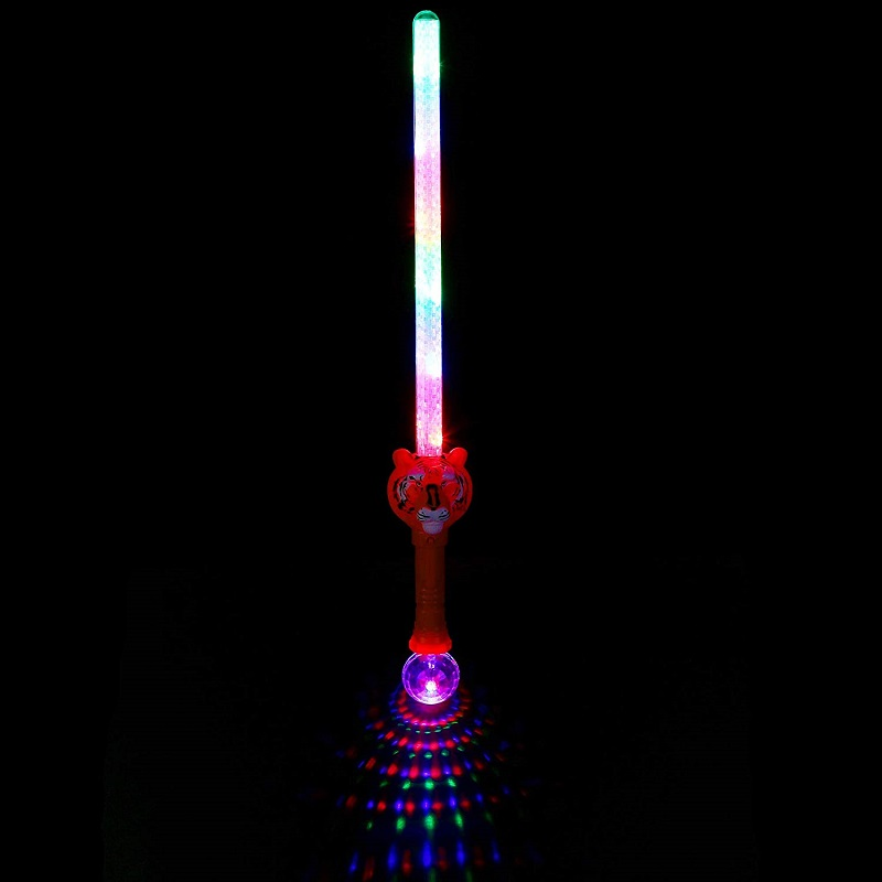 Flashing led tiger sword With Disco Ball,novelty popular kids toy