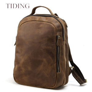 Fashion Imported China Guangzhou Leather Bags Factory Price Wholesale Men Genuine Leather Backpack