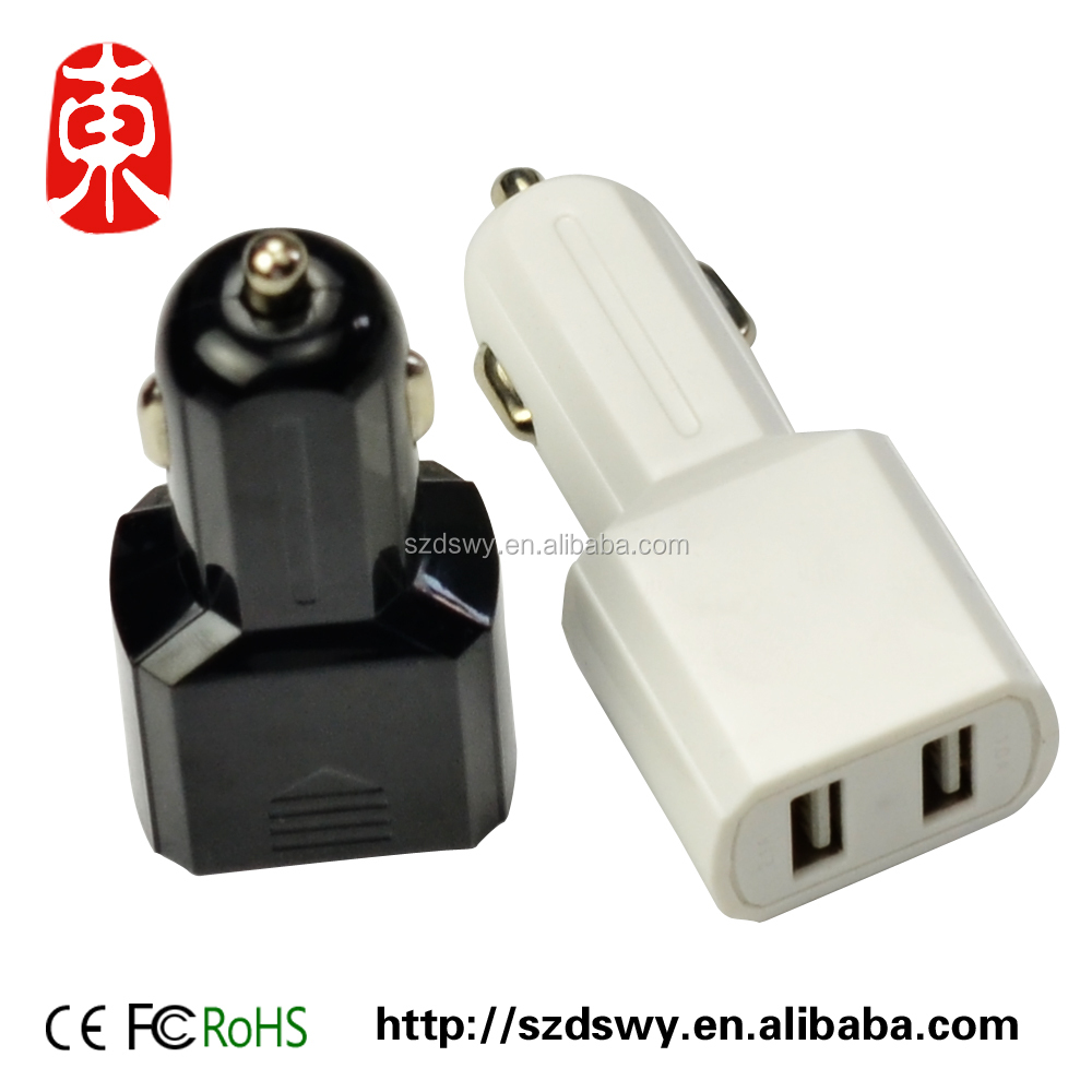 Dual Usb Car Charger Adapter Rock 2 usb Port Led 2.4A Smart Car-charger for Iphone