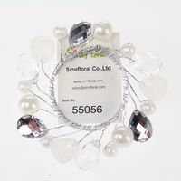 Pearls Acrylic flower bead wreath for candle jewelry candle wreath wholesale #55056
